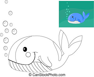 Coloring book with whale.