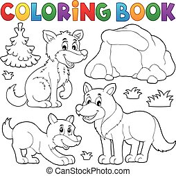 Coloring book with wolves theme 1 - eps10 vector ...