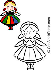 Coloring book with women in Polish National ethnic costume.