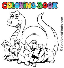 Coloring book with young dinosaurs - vector illustration.