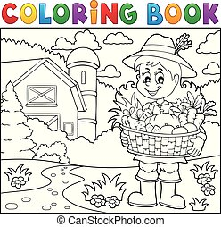 Coloring book woman farmer theme 2