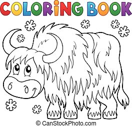 Coloring book yak theme 1 - eps10 vector illustration.