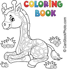 Coloring book young giraffe theme 1 - eps10 vector...