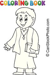 Coloring book young priest topic 1