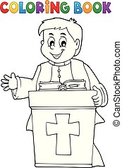 Coloring book young priest topic 2 - eps10 vector...