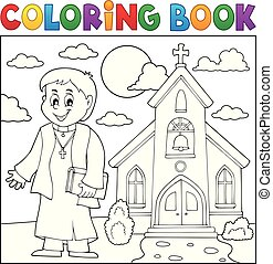 Coloring book young priest topic 3 - eps10 vector...