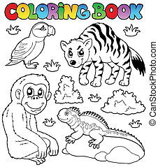Coloring book zoo animals set 2 - vector illustration.