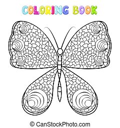 Coloring butterfly on white