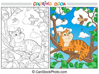 Coloring cartoon cat on a branch and Birds in the sky.