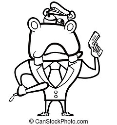 coloring cartoon hippo police officer with gun