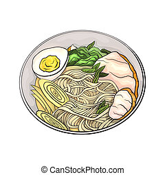Coloring cartoon illustration of ramen. Noodles. Vector element for the menu, card and your creativity.