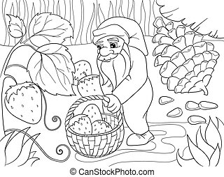 Coloring, cartoon, scene. Dwarf in the forest collects...