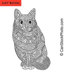 Coloring cat page for adults. Sitting looking serious.