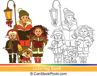 Coloring. Children Christmas choir