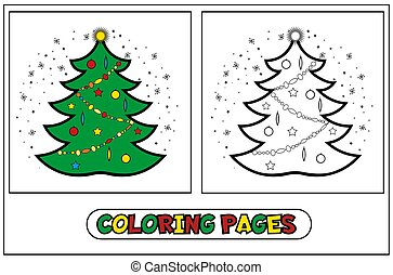 Coloring page. new year christmas spruce tree. educational ...
