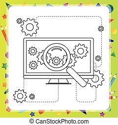coloring, computer, -, illustration, vektor, bog