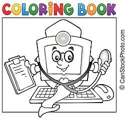 coloring, doktor, 1, tema, computer, bog