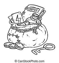 coloring., doodle., sacchetto, illustrazione, magico, oro, lineart, monete, borsa, chiave, fantasia, tesoro, pozione, pacco, stile, carattere, items., comico, avventuriero