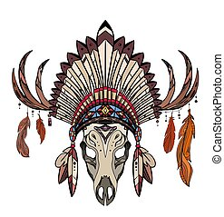 Coloring drawing of deer skull with horns, native cap of Indian with feathers and decorations. Tribal costume.