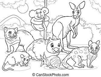 coloring, dyr, cartoon, side, marsupials