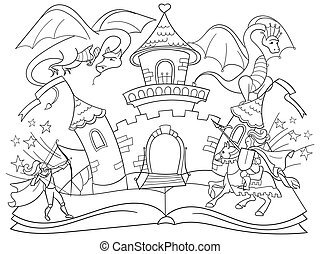Coloring fairy open book tale concept - kids illustration with evil dragon, brave warrior and magic castle. Imagination coming to life in a children fantasy book. Cartoon tales characters vector