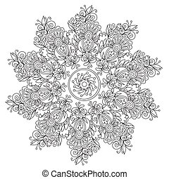 Vector outline floral abstraction mandala for coloring. Decoration round ornament