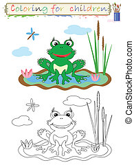 Coloring for children, frog.