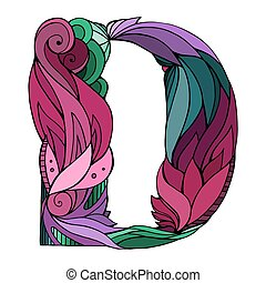 Coloring freehand drawing capital letter D with floral doodle pattern. Vector element for your design