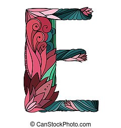 Coloring freehand drawing capital letter E with floral doodle pattern. Vector element for your design