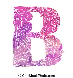 Coloring freehand drawing capital letter B with floral doodle pattern and watercolor background. Vector element for your design