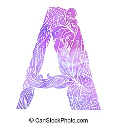 Coloring freehand drawing capital letter A with floral doodle pattern and watercolor background. Vector element for your design