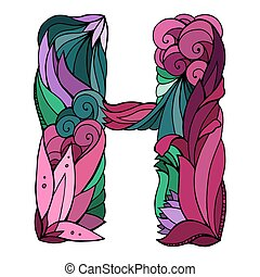 Coloring freehand drawing capital letter H with floral doodle pattern. Vector element for your design