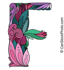 Coloring freehand drawing capital letter F with floral doodle pattern. Vector element for your design