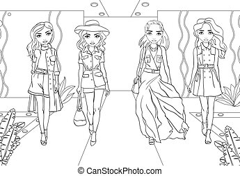 Coloring Girls In Military Suits And Raincoats