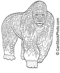 coloring gorilla animal for adults