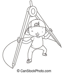 coloring illustration of a boy with compasses