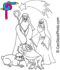 Coloring image Bethlehem - vector illustration.