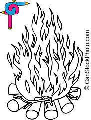 Coloring image campfire - vector illustration.
