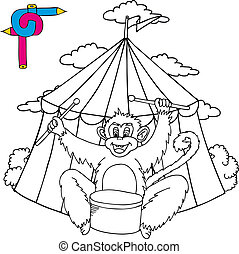 Coloring image circus with monkey