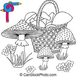 Coloring image mushrooms