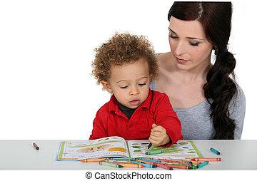 coloring-in, 母, 一緒に, 息子