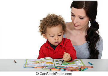 coloring-in, mère, ensemble, fils