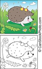 coloring, ladybug., book., illustration, hedgehog