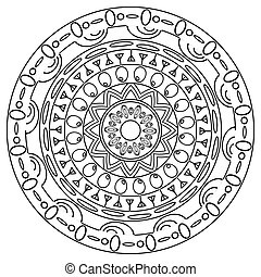 Coloring mandala in hand drawn doodle style.