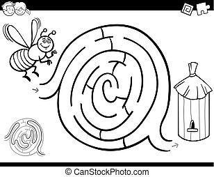 coloring, nældefeber bi, boldspil, bog, labyrint