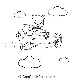 Bear on the airplane.