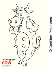 coloring page Cartoon cow is standing smiling.