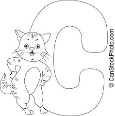 Coloring Page Illustration Featuring a Cat