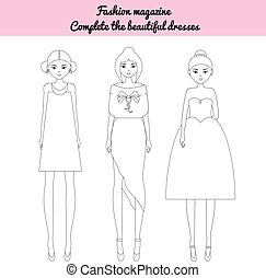 Coloring page children game. Fashion magazine