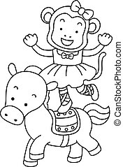 Coloring Page Circus Monkey Horse Illustration
